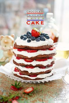 For a patriotic breakfast, try this Chocolate Pancake Layer Cake – Gluten Free