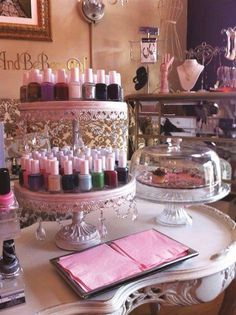 Cake stands for displaying nail varnishes!