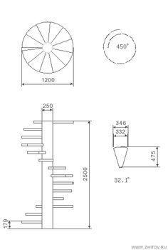 Cálculo da escada em espiral