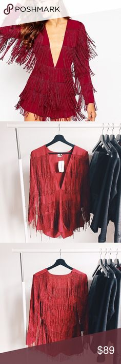 """ᴀsᴏs ғʀɪɴɢᴇ ʀᴏᴍᴘᴇʀ NWT gorgeous burgundy fringe romper. Super fun to wear on a night out! Romper features fringe and a deep v-neckline. This can easily be paired with your favorite heels and jewelry. Definitely a statement piece for a special fashionista!   ‣ᴍᴀɪɴ: 100% ᴘᴏʟʏᴇsᴛᴇʀ, ᴛʀɪᴍ: 100% ᴠɪsᴄᴏsᴇ ‣ʟᴇɴɢᴛʜ: ᴀᴘᴘʀᴏx. 29"""" ‣ʙᴜsᴛ: ᴀᴘᴘʀᴏx. 31"""" ‣ɪɴsᴇᴀᴍ: 2 1/2""""   ✨Pet friendly home ✨Please feel free to ask any questions! ✨Reasonable offers are welcomed ✨Bundle to save more- Make an offer on your…"""
