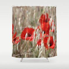 Poppies  - JUSTART © Shower Curtain by JUSTART  * Syl * - $68.00 #justart #society6 #showercurtain #shower #bathroom #home #decor #poppy #red #wheat #beige #summer #landscape #flower