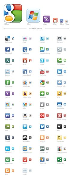 Imagery Investigation: A nice set of vector icons from Icon Dock. (Vectors are a really good idea for this sort of thing, because they can scale to any size and not lose resolution). The set shown has Facebook, Twitter, LinkedIn, and RSS; they've since released updates with icons for Dribble and Google+.