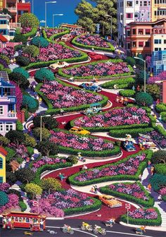 WantItAll- WantItAll Wentworth Lombard Street San Francisco 500 Piece Wooden Alexander Chen Jigsaw Puzzle with Wood Whimsy Pieces Most Beautiful Gardens, Beautiful Flowers Garden, Beautiful World, Beautiful Places, Beautiful Nature Pictures, Amazing Nature, Beautiful Landscapes, Lombard Street, Garden Art