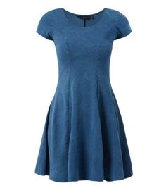Blue Short Sleeve Acid Wash Skater Dress
