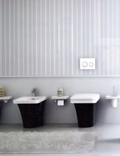 Plumbing Fixtures: Bidet, and toilet, with wall accessories