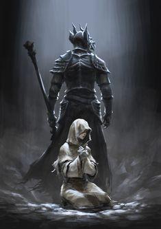 Eygon and Irina by Drawslave on DeviantArt Dark Souls 3 Knight, Arte Dark Souls, Dark Fantasy, Soul Saga, Dark Artwork, Gothic Horror, Bear Art, Fantasy Warrior, Fantastic Art