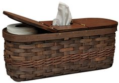 """A great basket for the bathroom, it does double duty, holding a boutique tissue box in the center and spare toilet tissue rolls under the hinged side lids. It is 6-1/2"""" x 17-1/4"""" x 7-1/4"""" and will fit perfectly on the tank. It is a great way to have paper available and yet out of sight. KP Creek Gifts"""