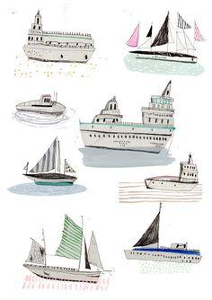 Ilustración. Barcos. Edición limitada grabados. Impresión del arte. Dibujo.