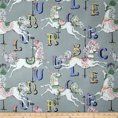 Dear Stella Carousel 154 Grey 100 Cotton Fabric Remnant 27