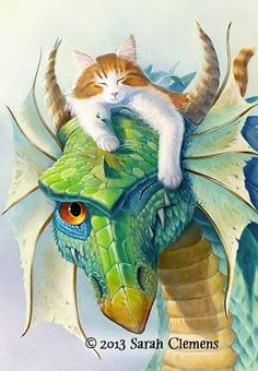 Uncle Fang by Sarah Clemens. Dragons, cats http://www.clemensart.com/images/unclefang.jpg