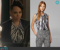 Tegan's zebra stripe twisted top on How to Get Away with Murder King Outfit, Cropped Leather Jacket, Female Fighter, Studded Heels, How To Get Away, Michael Kors Collection, Other Outfits, King Clothes, Office Chic