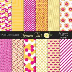 Pink Yellow Lemon Zest wedding background papers