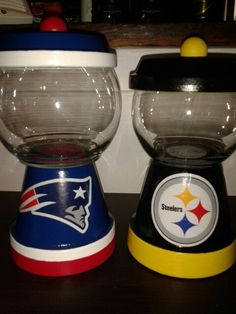 """Terra cotta pots """"Patriots and Steelers"""" bubble gum machine inspired candy dishes.."""