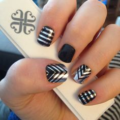 Jamberrynails Celebstatus, Tungsten Sparkle, Metallic Chrome Silver, Silver Stripe and Darkest Black Tint =love!
