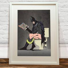 batman on the toilet print by lime lace | notonthehighstreet.com