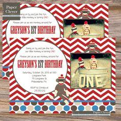 Boys birthday invitation sock monkey photo  digital by paperclever, $13.00