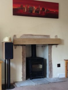Beam as mantle Home Living Room, Living Area, Fire And Stone, Log Burner, Fireplace Design, Decorating Blogs, Hearth, Home Kitchens, Building A House