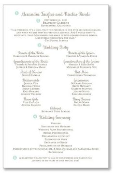 One Page Wedding Ceremony Programs
