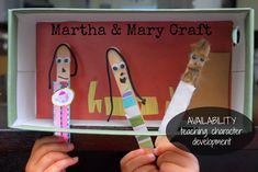 Our character development series continues with a Martha & Mary craft that teaches availability. Preschool Bible, Bible Activities, Craft Activities For Kids, Craft Kids, Sunday School Activities, Sunday School Lessons, Sunday School Crafts, Tot School, Bible Study For Kids