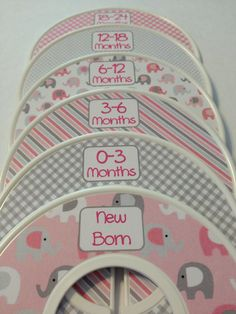6 Custom Baby Closet Dividers Organizers Pink and Grey Elephants Baby Girl Nursery Shower Gift - Clothes Dividers