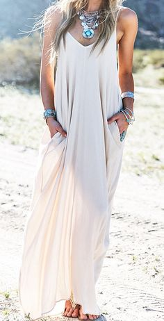 Summer trends Amazing boho maxi dress, silver accessories
