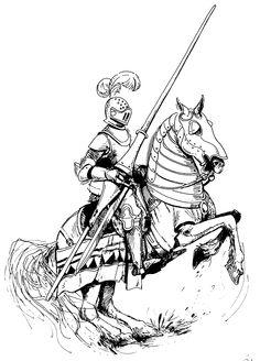 beautiful knight on horse