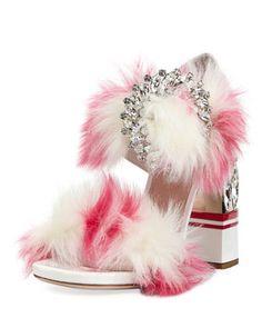 Faux-Fur Two-Strap Sandal by Miu Miu at Bergdorf Goodman.