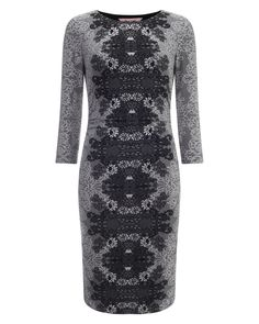 All New Arrivals | Grey Jaida Placement Jacquard Dress | Phase Eight