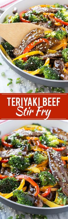 Teriyaki Beef Stir Fry - Tender slices of beef sauteed with a variety of colorful vegetables, all coated in a quick and easy homemade teriyaki sauce. Teriyaki Beef Stir Fry, Beef Stir Fry Healthy, Recipe For Beef Stir Fry, Beef Stir Fry Sauce, Chinese Beef Stir Fry, Beef Vegetable Stir Fry, Teriyaki Marinade Steak, Brocolli Beef Stir Fry, Ground Beef Stir Fry