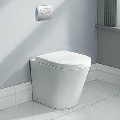 Modern Back To Wall Toilet Pan & Seat Luxury White Ceramic Bathroom WC CT632BTW