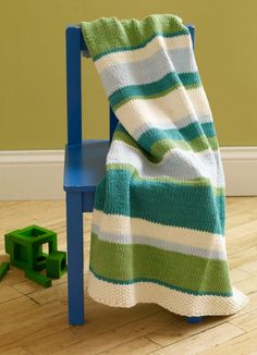 Mixed Stripe Baby Throw Pattern (Knit)