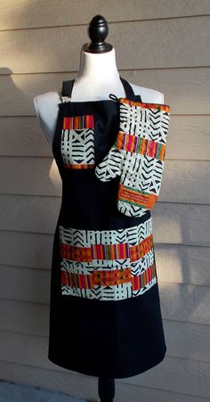Orange and Black Graphic African Kente Print Unisex Apron and Mitt by fancyfreeboutique on Etsy African Interior Design, African Design, African Print Fashion, Fashion Prints, Fashion Design, African Fabric, African Dress, African Crafts, African Accessories