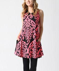 Look at this #zulilyfind! Black & Pink Damask Pocket Scoop Neck Tunic #zulilyfinds