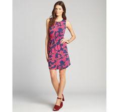 JB by Julie Brown fuchsia floral print jersey 'Gilly' sleeveless shift dress