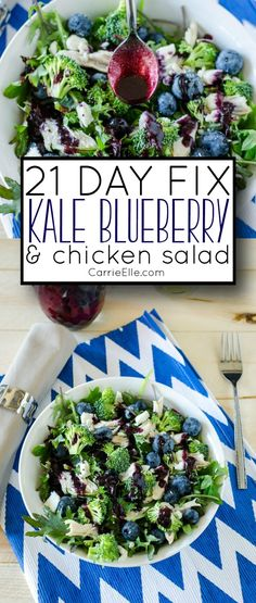21 Day Fix Kale Blueberry Salad with Blueberry Vinaigrette (container counts included!)