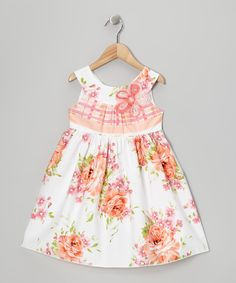 Take a look at this Peach Rose A-Line Dress - Toddler on zulily today!