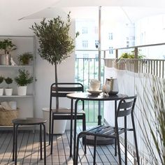 Modern Balcony Furniture Ideas by IKEA with Small Round Table and Chairs - veranda - Balcony Furniture Design Balcony Table And Chairs, Balcony Furniture, Home Decor Furniture, Outdoor Furniture Sets, Furniture Ideas, Furniture Movers, Room Chairs, Furniture Design, Balcony Design