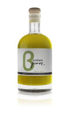 Bocoliana Grove Extra Virgin Olive Oil.  Label design by tallulah @ tallulah.gr