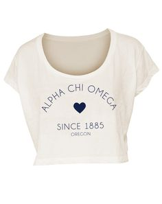 adorable. super cite with denim high waisted shorts at letters and vans.  alpha chi omega crop top heart