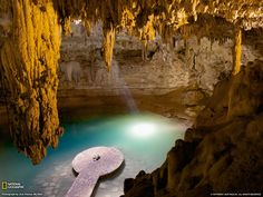 Cenotes, like the Sacred Cenote at Chichen Itza, are the only one source of water in the Yucatan Peninsula Oh The Places You'll Go, Places Around The World, Places To Travel, Around The Worlds, Travel Destinations, National Geographic Wallpaper, Mexico Wallpaper, Chichen Itza Mexico, Exotic Places