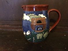 Vintage Redware Noah Ark Decorated Pitcher.  Earthen Vessel Co. With Noah's Ark. Designed and decorate by a folk Artists