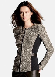 """This black multi coloured jacket is made up of three fabrics, each with their own unique texture, come together in this stunning bijoux tweed """"Bently"""" jacket by Lafayette 148. When paired with leather pants, the look is head-to-toe chic, channeling that Olivia Pope Style!"""