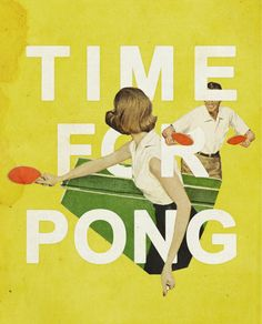 Photo illustration, collage, print, ping pong.