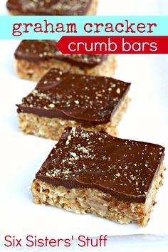 Graham Cracker Crumb Bars from SixSistersStuff.com. Only 5 ingredients needed to make these! #bars #dessert
