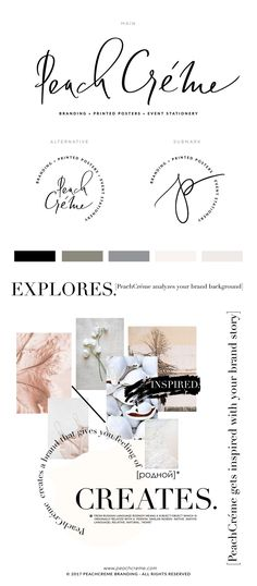 Peach and cream logo branding mood board, neutral feminine modern branding, organic brand ideas, branding inspiration, photographer branding