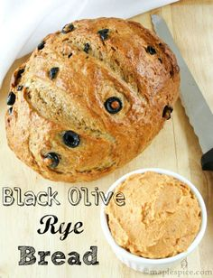Sun-Dried Tomato and White Bean Spread with Black Olive Rye Bread.
