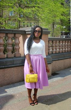 And—while you're at it—try a bright color… | 19 Midi Skirt Styles You Just Have To Try