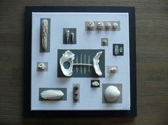 Tableau esprit bord de mer en coquillages et bois flotté