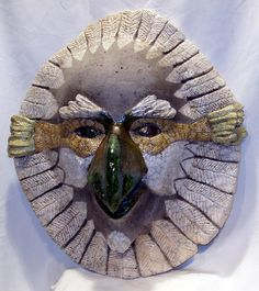 raku masks | Raku Hawk Mask Sculpture by John Gruber - Raku Hawk Mask Fine Art ...