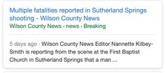 Some wondering on Twitter why Google shows local Sutherland Springs paper reporting on tragedy 5 days ago. Because story had date mistake...pic.twitter.com/DQ5phWOJ5W Florida SEO  Brevard SEO  SEO Biz Marketing
